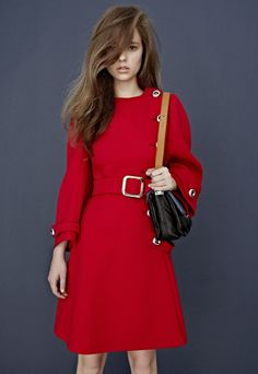 Red hot dress with off-center buttons from Prada