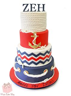 Zach's Nautical Bar Mitzvah Cake Zach celebrated his Bar Mitzvah with this four tier nautical themed cake. The top tier is covered with a thick white rope