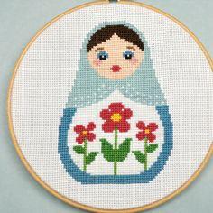 A charmingly pretty Russian matryoskha cross stitch. #stitchery #crafts #cute