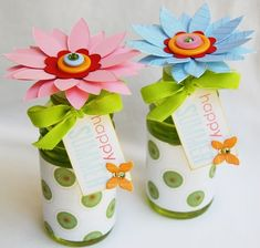 Small plastic bottles (juice, gatorade, or water) decorated for parties or used as favors - using scrapbooking paper!  Love this!