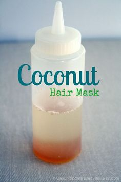 DIY Coconut Hot Oil Treatment:  You start with just two ingredients – coconut oil and a little bit of honey, then warm them in the microwave and massage into your hair.