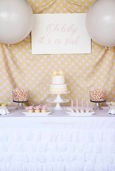 Oh baby its a girl baby shower backdrop #babyshower #blovelyevents