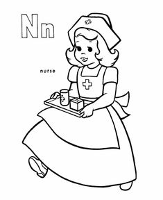 ABC Coloring Sheet, Letter N is for Nurse