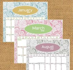 Printable 2012 monthly fill-in calendar
