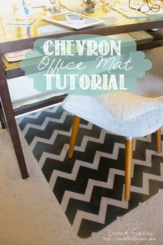 Chevron office mat DIY