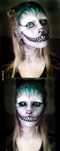 Did this myself, three hours of work. Long live the Wonderland! Cheshire Cat makeup