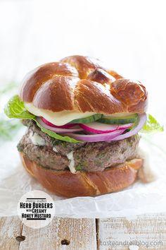 Cheese-Stuffed Herb Burgers with Creamy Honey Mustard