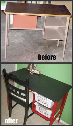 Kids Art Desk Makeover.  Chalkboard paint on top!  Perfect!  I have one just like this in the playroom.