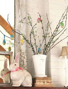 easter tree, spring mantel, easter mantl, bouquets, easter decor, branch, easter eggs, easter craft, kid crafts