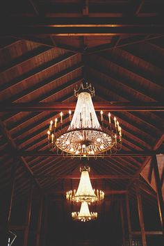 Chandeliers inside Howell Family Farms Barn, Reception