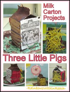 Three Little Pigs: Nursery Rhymes Milk Carton Project (straw, sticks + bricks) from article that includes PIG art + PIG comparative writing -- all things PIG!