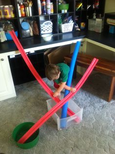 Pool Noodle Marble Run. Shelby would love this!