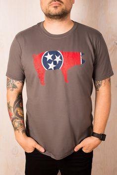 Tennessee Pig Flag T-Shirt on BourbonandBoots.com #tennessee #bbq