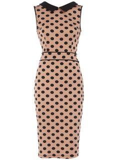 Mocha spot dress with collar
