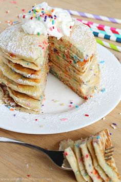 EASY and festive Funfetti Pancakes from scratch! These are perfect for celebrating someone special's Birthday…or just because!