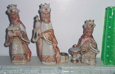 Three Wise Men Christmas Nativity 3 Clay Ceramic Candlesticks Candle Holders Set