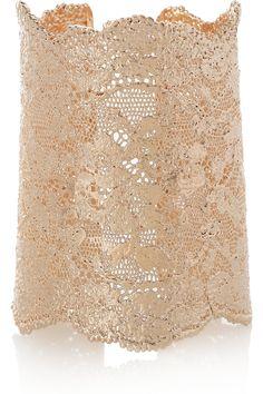AURÉLIE BIDERMANN 18-karat rose gold-dipped lace cuff