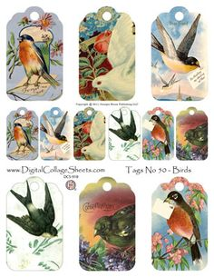 Bird Tags digital collage sheets