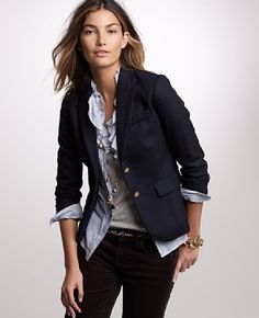 fall dressy casual. one of my fav looks with the blazer with rolled sleeves