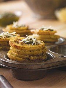 Pesto Parmesan Potato Stackers - Potato Goodness
