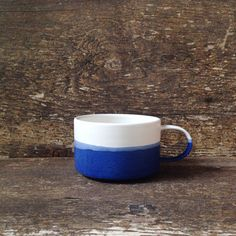 The Walden Mug in Cobalt  White by paperandclaystudio on Etsy, $42.00