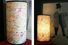 Hurricane lamp with city map.