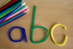 pipe cleaners to make letter shapes and words