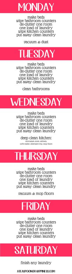 Daily Cleaning Schedule...I like this one  best! #cleaning #organization
