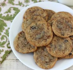 Chocolate Chip Toffee Cookies - A thin, crispy edged, soft, chocolaty center cookie with hints of toffee.  Only 104 calories a cookie.