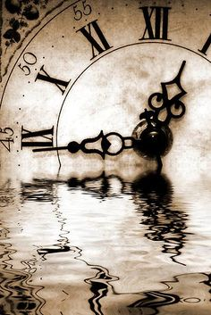 Clock, time goes by, time, water, reflections, fantasy, symbolism