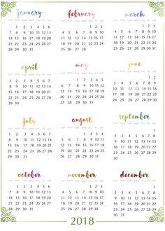 Free Printable 2018 Calendar - This beautiful floral printable ...
