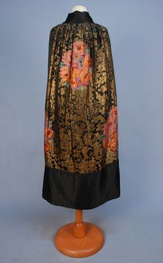 Gold Lame Rose Pattern Evening Cape, 1920s.