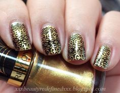 Black and Gold Lace Nails