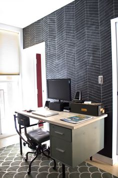 Herringbone Patterned Chalkboard Wall