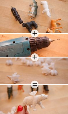 Okay, this is genius.  Drill a hole in the back of the plastic animals - stick in plastic b-day candle holders and spray paint the whole thing with the color of your choice.  SOOO cute!!!