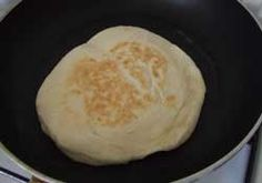 Homemade flat bread on a non-stick pan | giverecipe.com | #bread