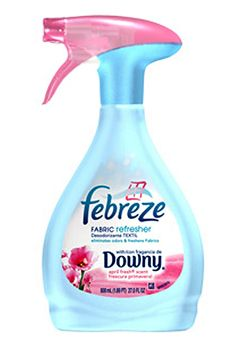 DIY replicate febreze    1/8 Cup of Your Favorite Fabric Softener  2 Tablespoons Baking Soda  Hot Tap Water - To Fill the Bottle to the Top