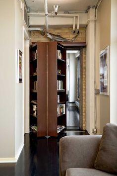 accordion-fold bookcase door! cool idea.