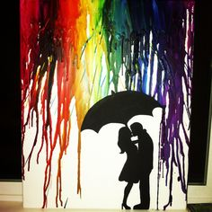 going to do this melted crayon art    Just that i ll be using more    Couple Silhouette Umbrella Crayon Art