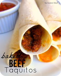 Baked Beef Taquitos on SixSistersStuff.com -my kids love these because they can eat them with their hands!