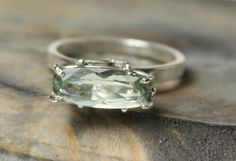 Green Amethyst Solitaire Argentium Silver Ring by BendTheFish