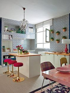 Eclectic kitchen in Madrid home.