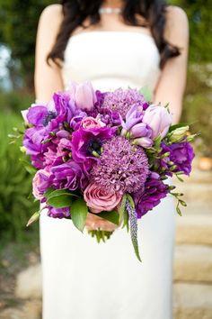 Violet Lisianthus, Lavender Roses, Allium Bouquet