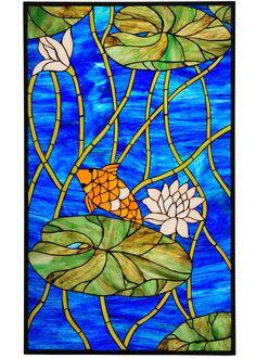 Meyda 67795 Tiffany Koi Pond Lily Stained Glass Window http://www.lampsbeautiful.com/media/M/lgM67795.jpg