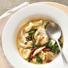 Tortellini Florentine Soup: This easy soup recipe calls for light Alfredo pasta sauce, baby spinach, deli chicken and tortellini.