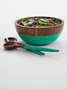Top Quality Unique Personalized Gifts at Red Envelope via http://www.AmericasMall.com/redenvelope-gifts I love the paint on this bowl.... wooden serving bowl #redenvelope #gifts #personalizedgifts