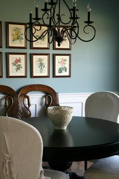 Love the Wall Color, base wall molding & Chandelier