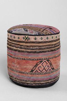 vintage woven pouf