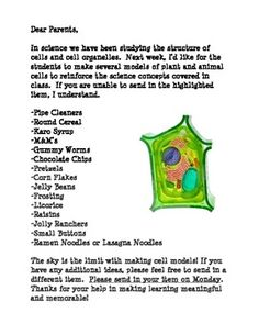 This letter is great to send to parents for lab donations to complete student-created plant or animal cell models.  Students choose which supplies ...