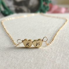 Couple Necklace Two Heart Monogram Necklace by anatoliantaledesign, $27.00